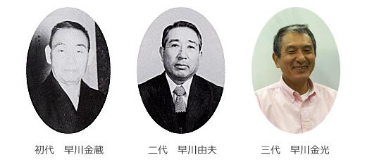 初代 早川金蔵、二代 早川由夫、三代 早川金光